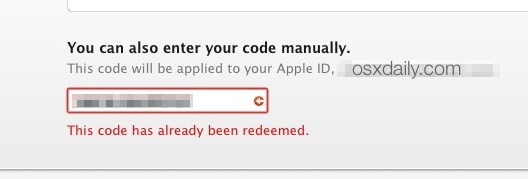 Code already redeemed Yosemite download error