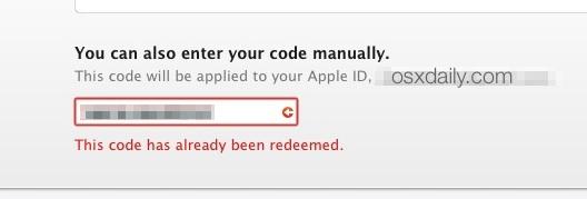 Code already redeemed Yosemite download error