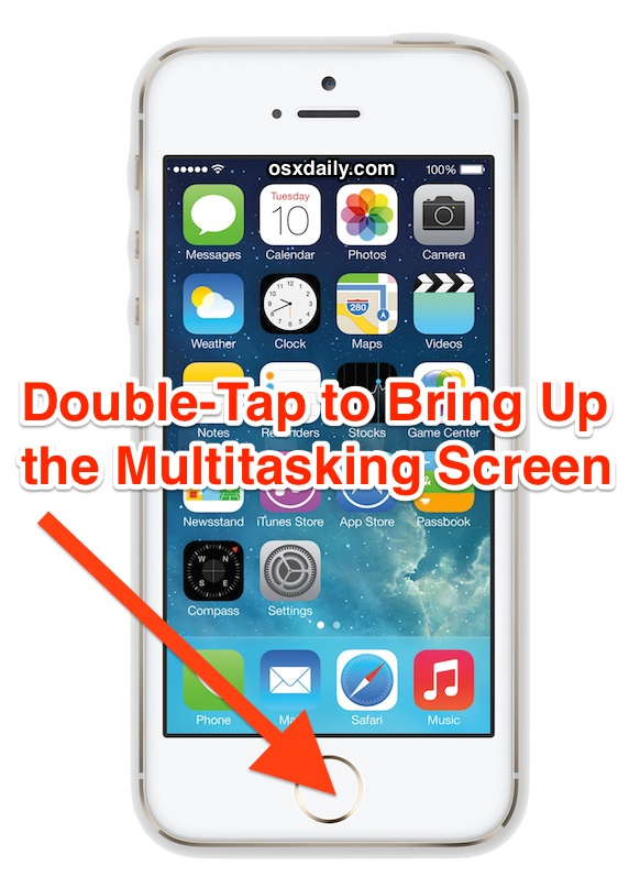 Double tap to summon the multitasking app screen in iOS