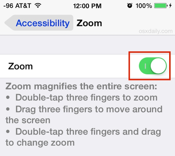 Enable Zoom on iPhone in iOS