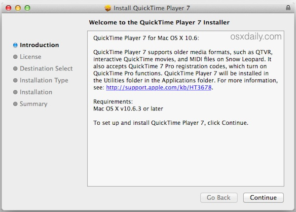 Install QuickTime Player 7 in new versions of OS X