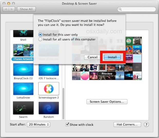 Install a screen saver in Mac OS X