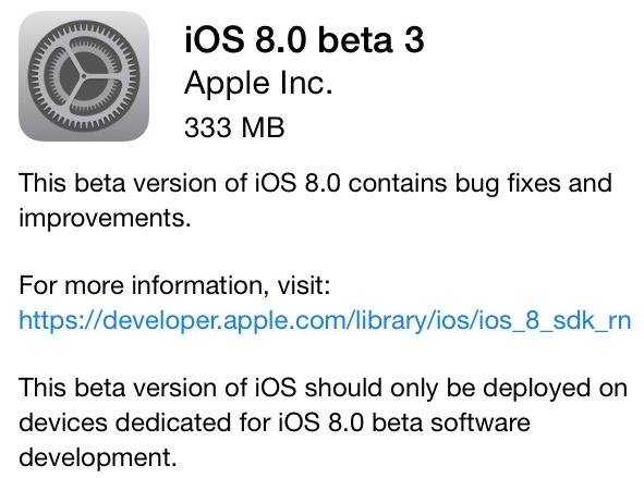 iOS 8 beta 3 OTA update