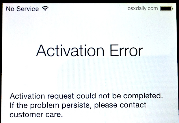 iPhone Activation Error screen