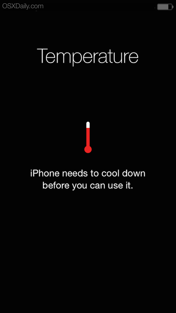 iPhone temperature warning