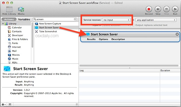 Make a screen saver Service in Automator for Mac