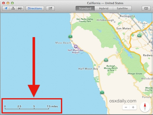 Maps scale visible in Mac OS X