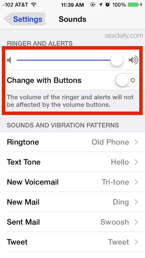 Prevent volume buttons from changing the ringer and alert volume on iPhone