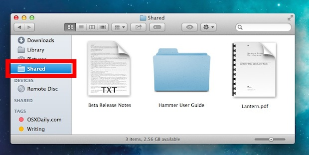 Quick access to the Shared files folder between User accounts on Mac OS X