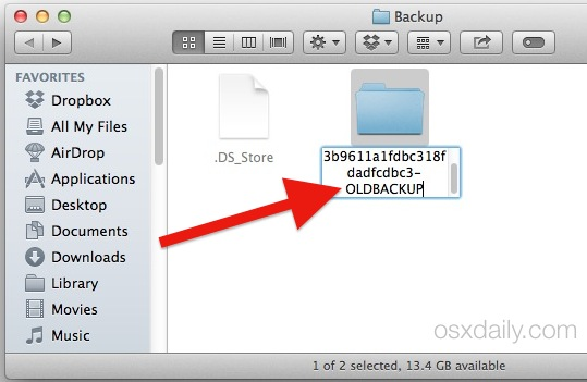 Rename iOS Backup File to fix the iTunes Backup Failure