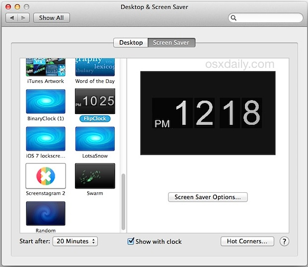 Add Screen Savers in Mac OS X