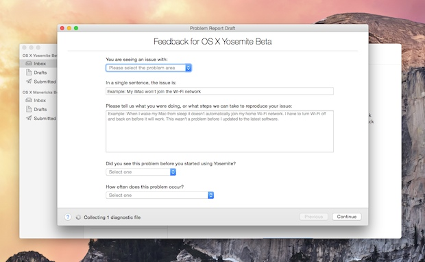 Send Apple feedback about OS X Yosemite