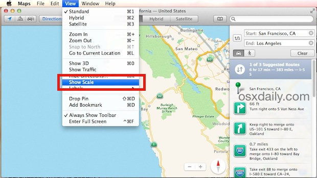 Show Scale in Maps for Mac