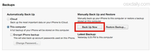 Starting an iOS Device backup to iTunes