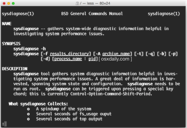 sysdiagnose advanced Mac diagnostics in OS X