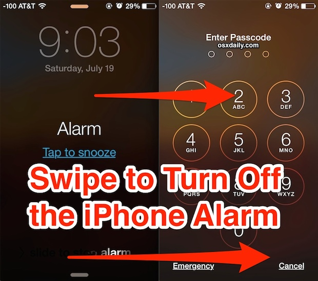 Turn off the iPhone alarm by swiping