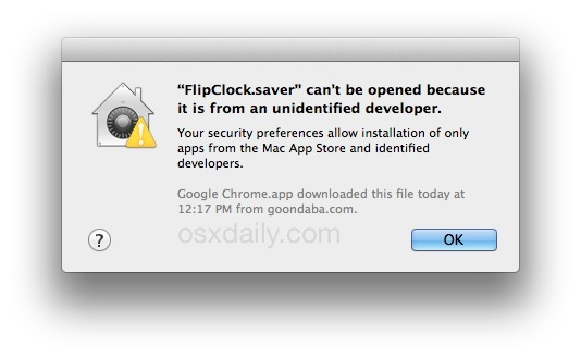 Unable to install screen saver in Mac OS X warning from unidentified developer