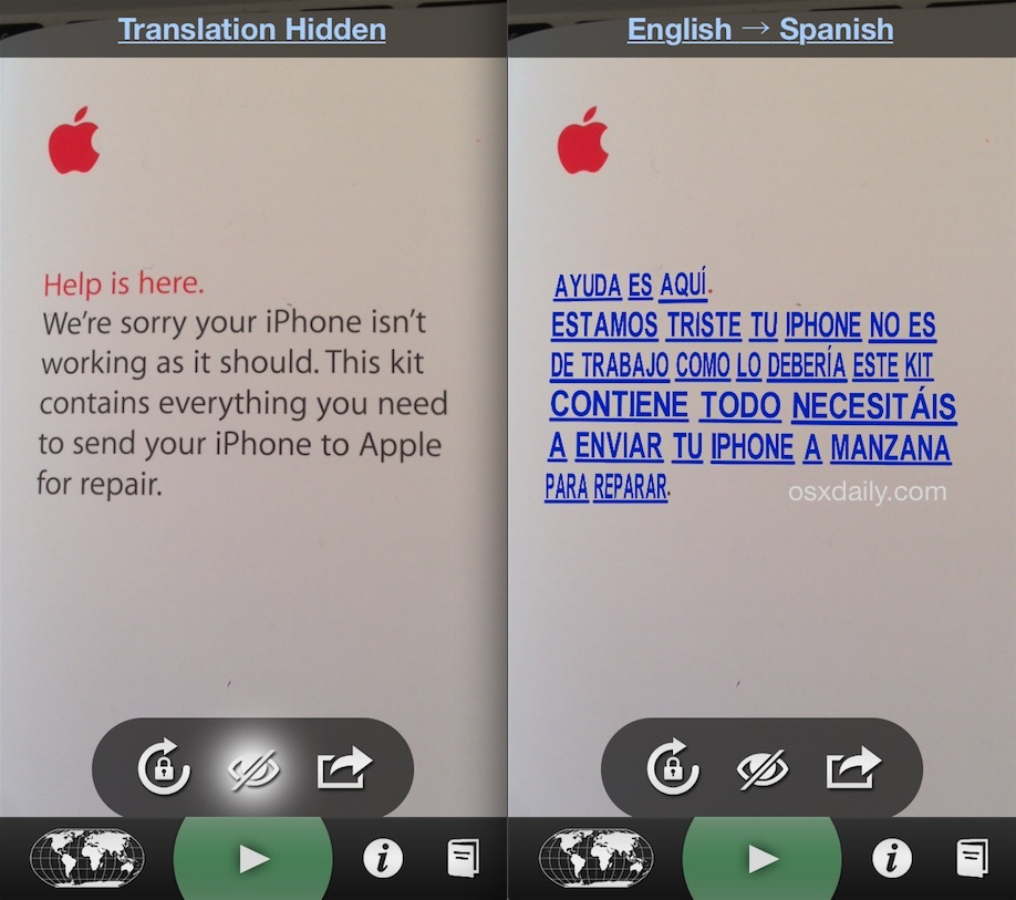 Word Lens instant language translation on iPhone