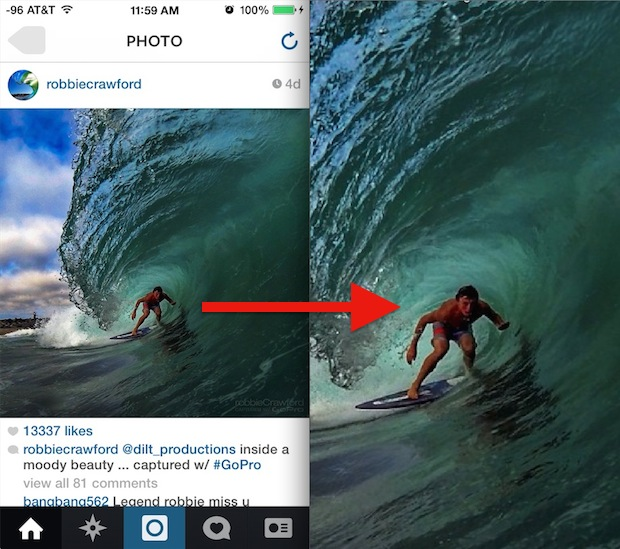 Zoom in to Instagram pictures with an iPhone trick