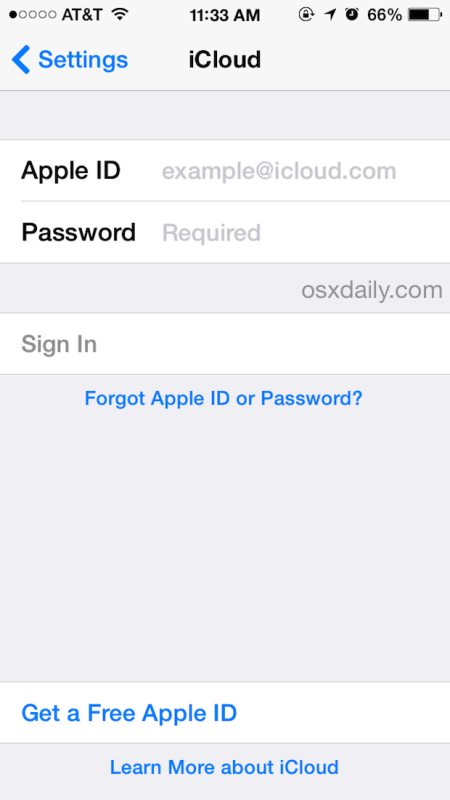 Change an iCloud account in iOS