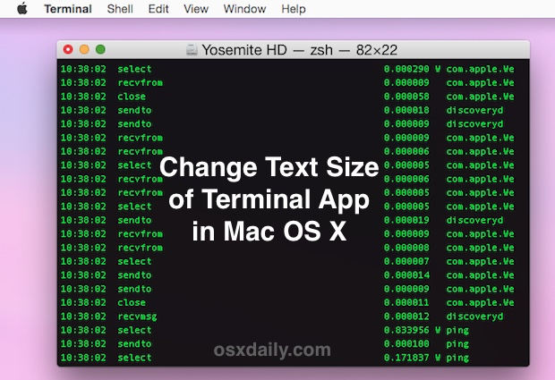 Change the text size of Terminal app quickly with keystrokes