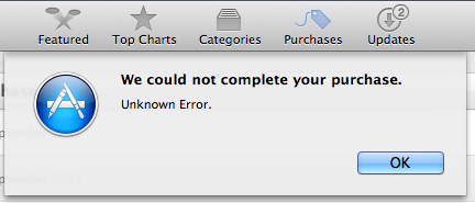 App Store We could not complete your purchase - Unknown Error