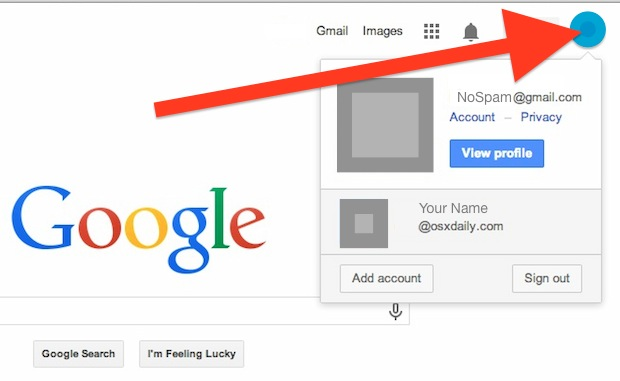 Change the default Google account with multiple sign in
