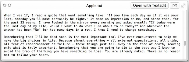 Easter Egg: Steve Jobs speech hidden in Mac OS X