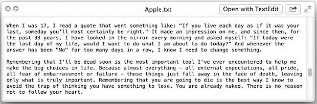 Easter Egg: Steve Jobs speech hidden in Mac OS X
