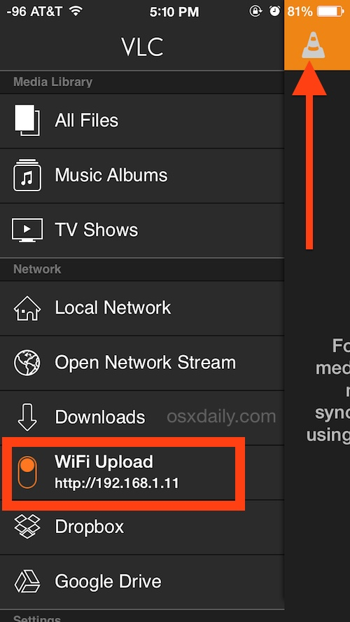 Enable VLC Wi-Fi Video upload capabilities in iOS
