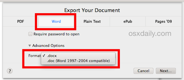 Export Pages files as Word formats