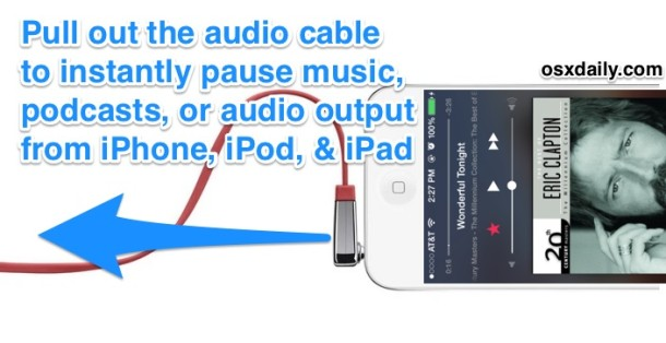 Instantly pause music on the iPhone by yanking out the audio cable