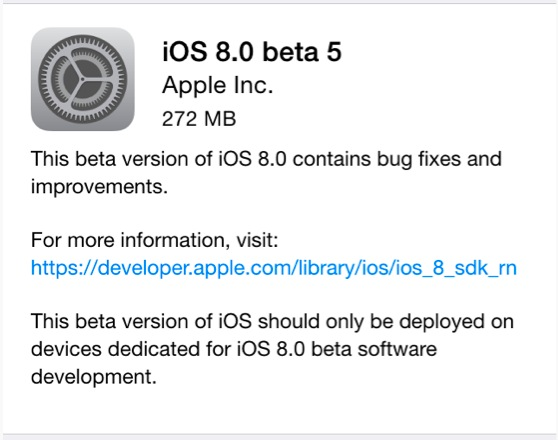iOS 8 beta 5 as an OTA download