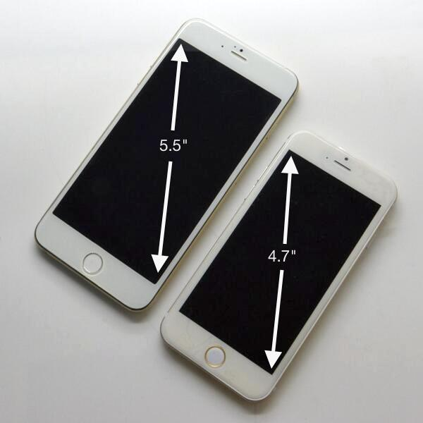 iPhone 6 dummy models with different screen sizes