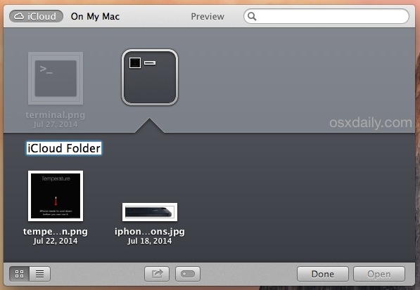 Naming an iCloud Folder in Mac OS X