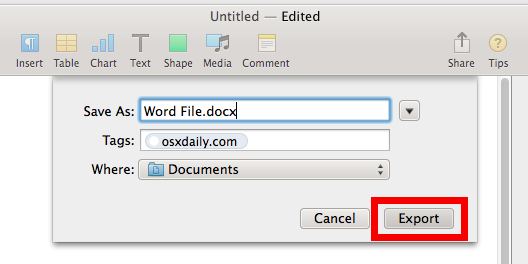 Pages saving a Word docx file for Microsoft Windows support