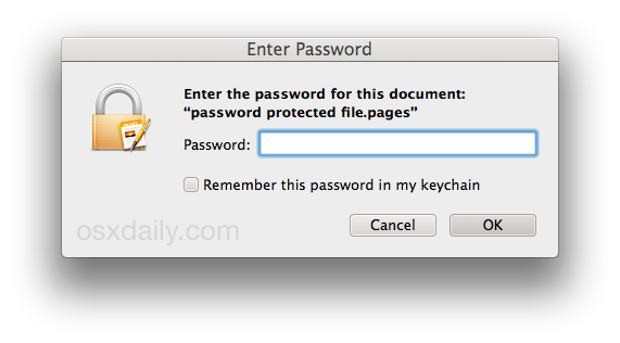 Password required to open an iWork file in Mac OS X