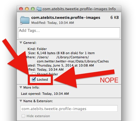 Prevent Twitter for Mac image cache creation