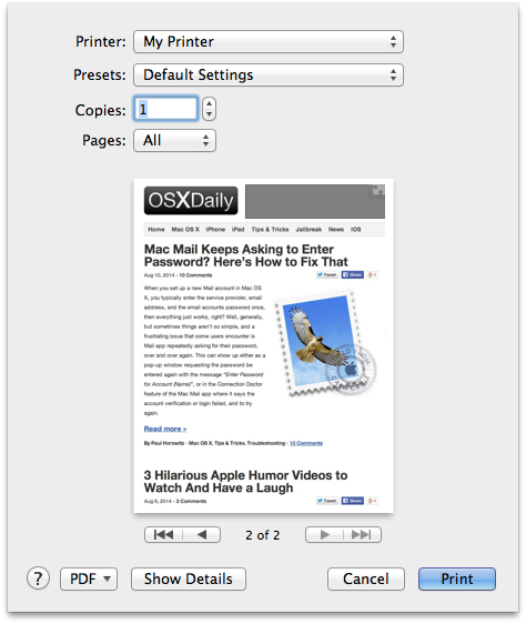 Printing a file from the desktop on a Mac