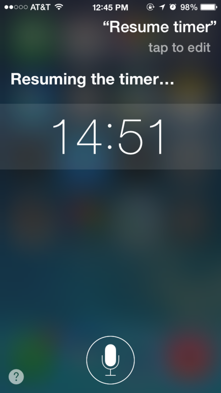 Resume a paused timer with Siri