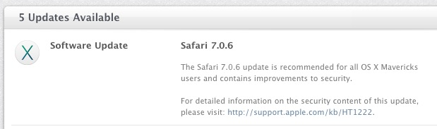 Safari Security Update 7.0.6 available for Mac