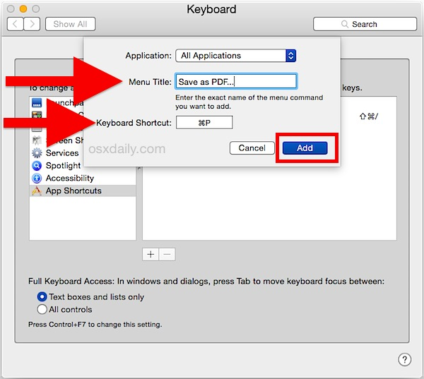 Save as PDF keyboard shortcut in Mac OS X