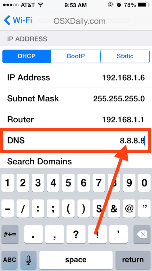 Set DNS Servers on an iPhone