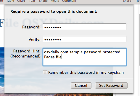 Setting the password for an iWork file in Mac OS X