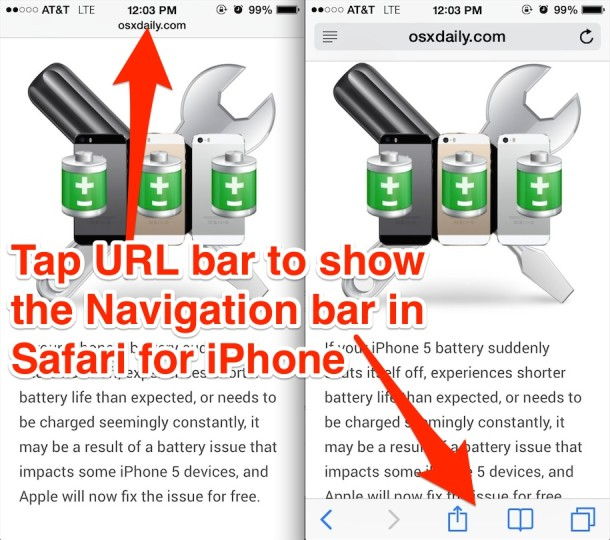 Show Navigation Bar and Buttons in Safari for iPhone