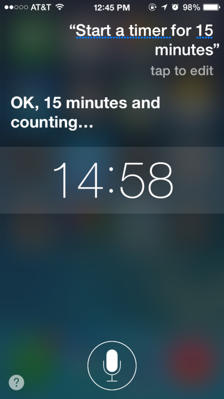 Start a timer on the iPhone / iPad with Siri