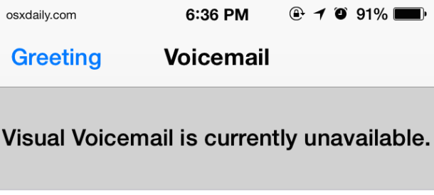 Voicemail unavailable on the iPHone