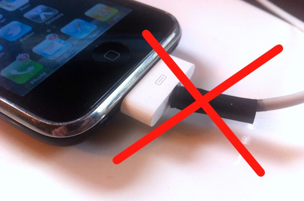 iPhone cable frayed with electrical tape