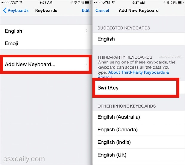 Adding a new keyboard in iOS