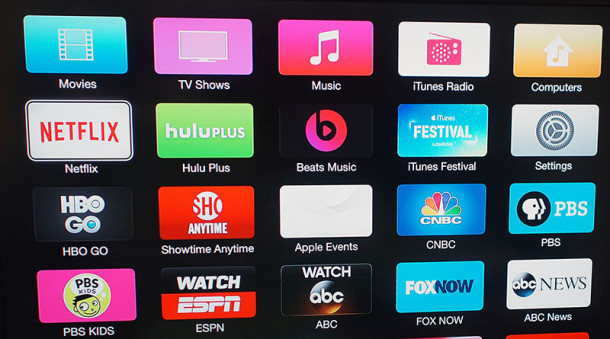 Apple TV bright neon colorful update icons